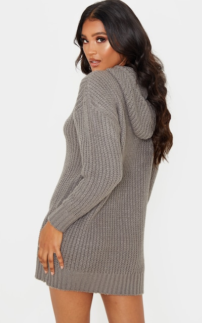 Grey Knitted Hooded Jumper Dress