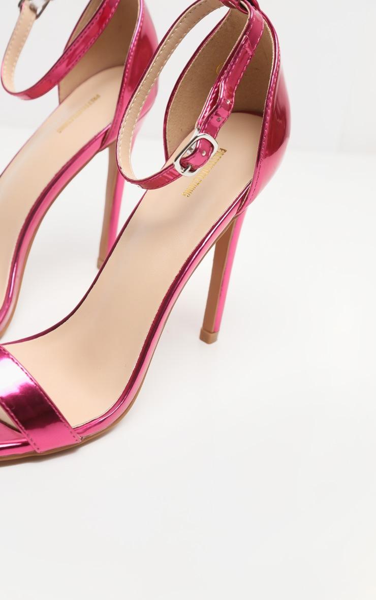 Fuchsia Metallic Clover Heeled Sandals 4