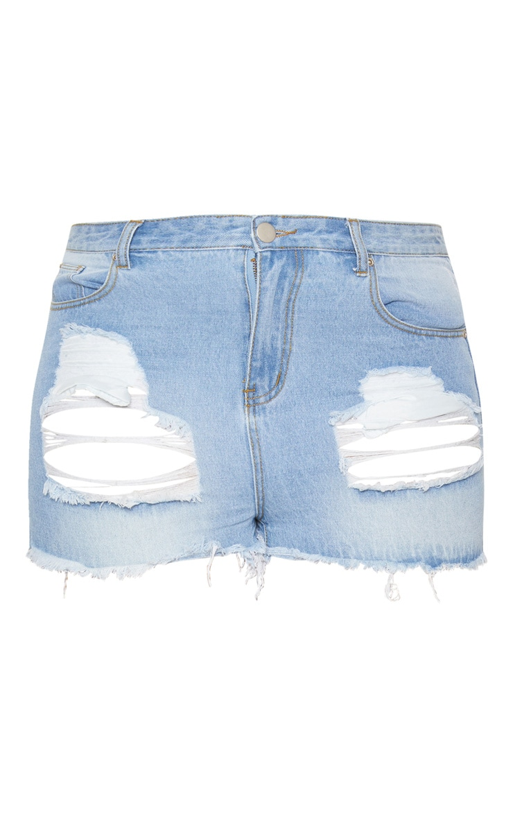 Plus Light Wash Ripped Frayed Hem Denim Shorts 3