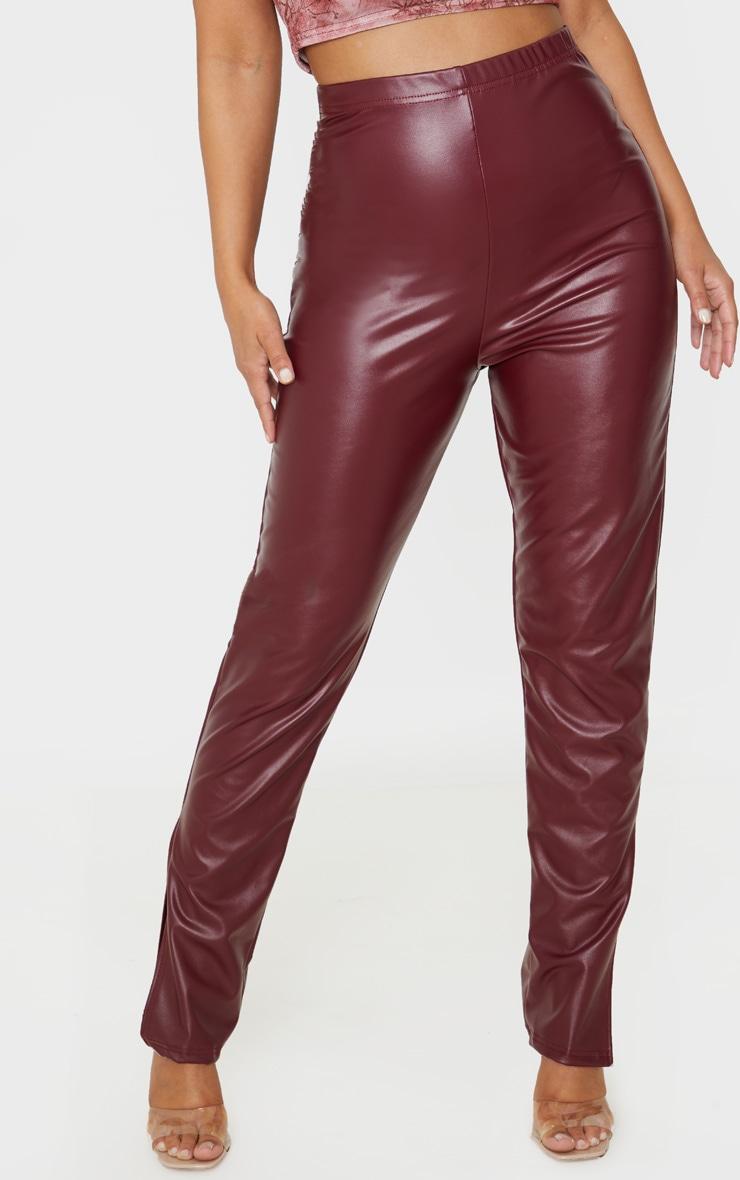 Petite Burgundy Split Hem Flared PU Trouser  2