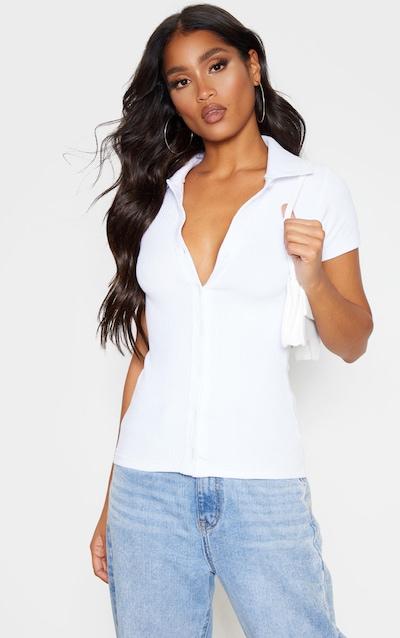 White Rib Button Collar Top