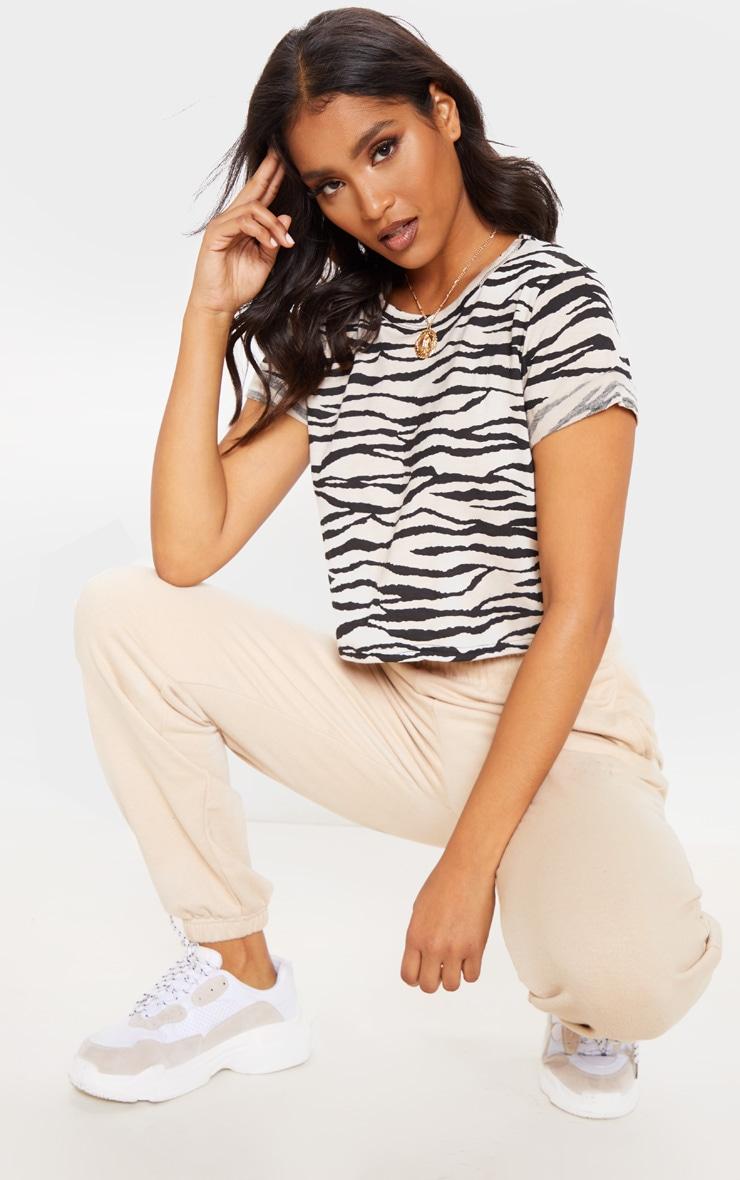 Basic Nude Zebra Roll Sleeve Crop T Shirt  3