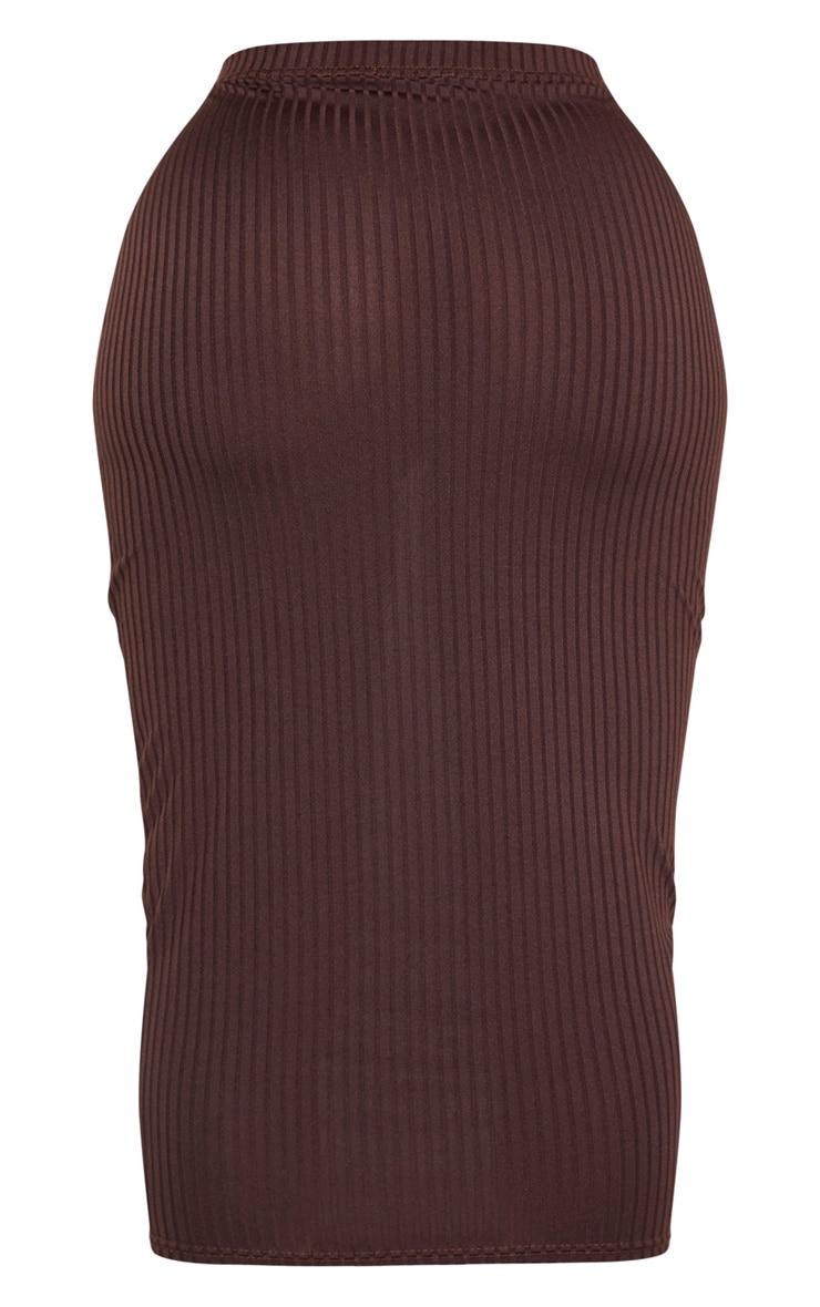 Shape - Jupe taille haute mi-longue marron chocolat côtelée 3