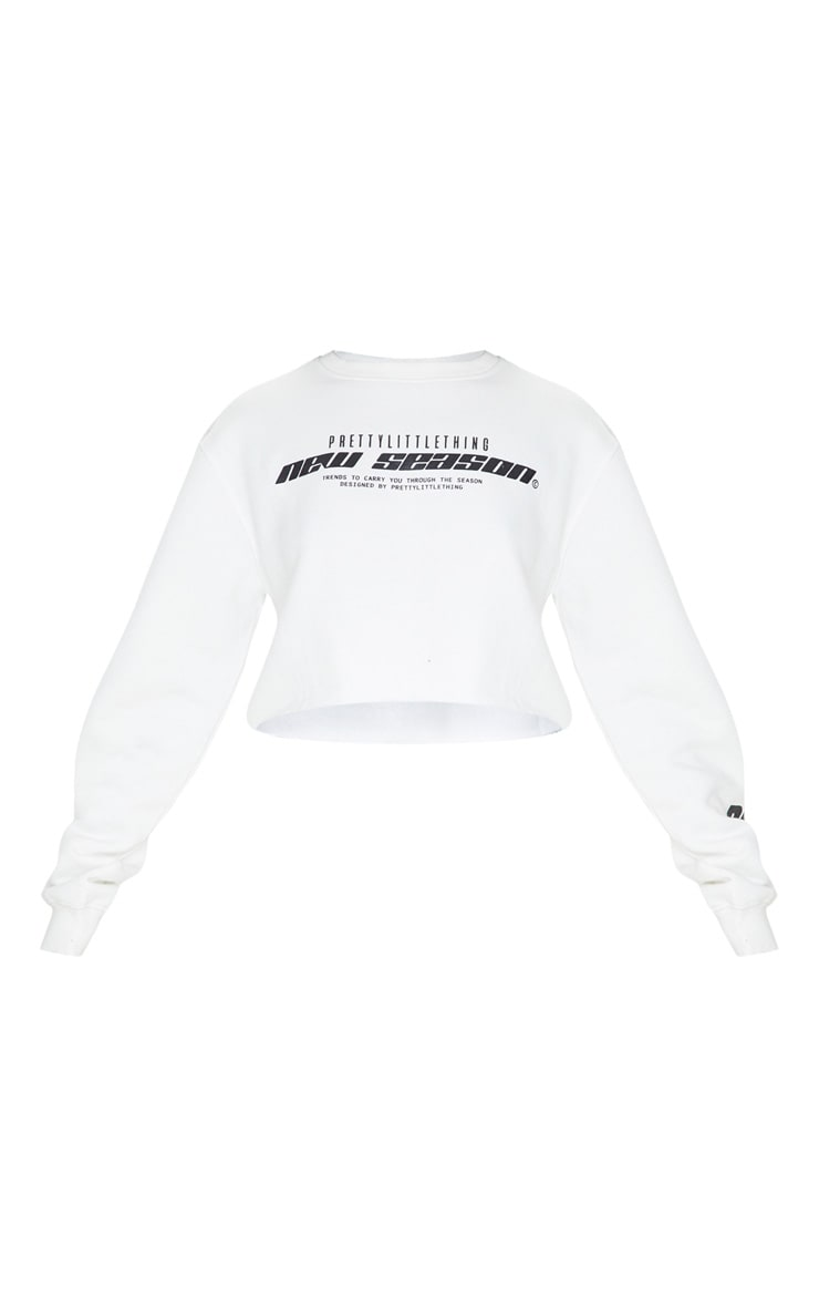 PRETTYLITTLETHING Cream New Season Slogan Cropped Sweater 3