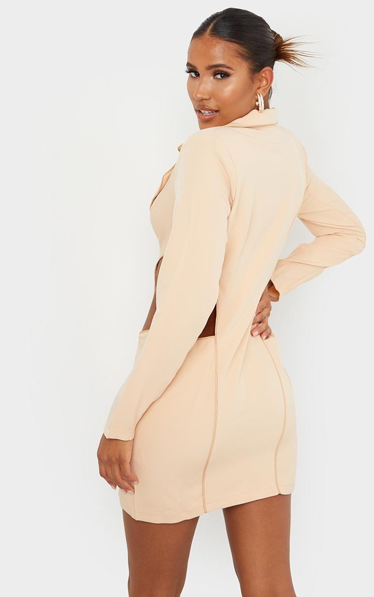 Nude Contrast Binding Cut Out Blazer Dress 2