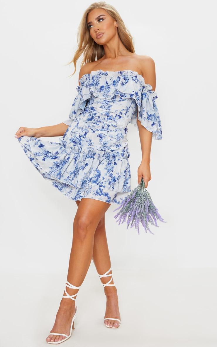 Blue Floral Print Lace Up Bardot Bodycon Dress 1
