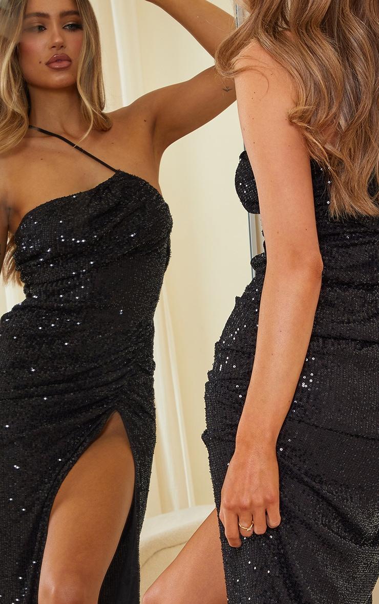 Black Sequin One Shoulder Split Ruched Midi Dress 5