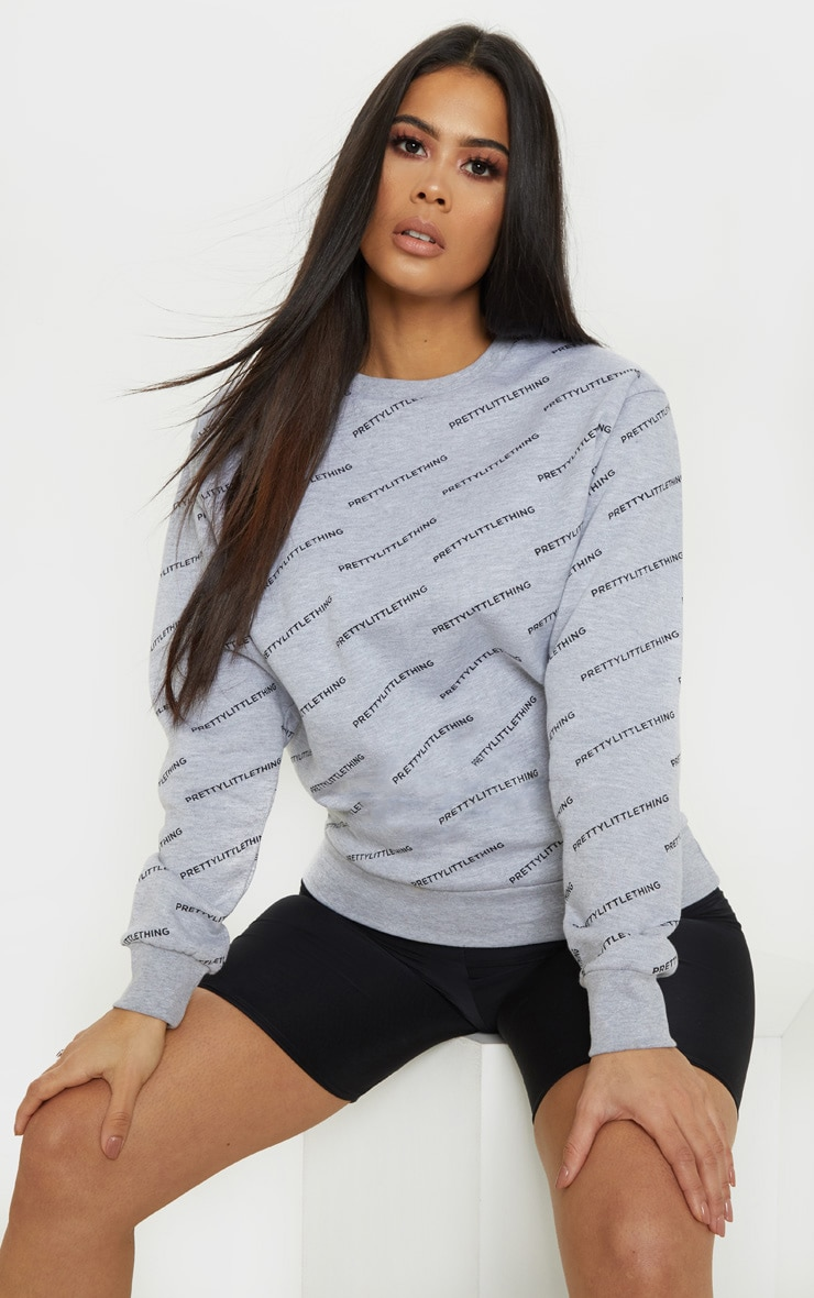 PRETTYLITTLETHING Grey Marl Monogram Sweater