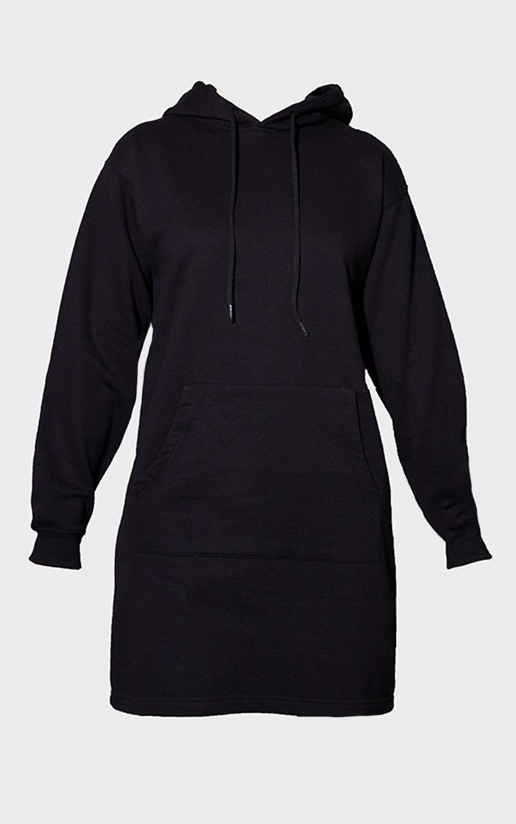 PRETTYLITTLETHING Black Print Oversized Hooded Sweat Jumper Dress 5