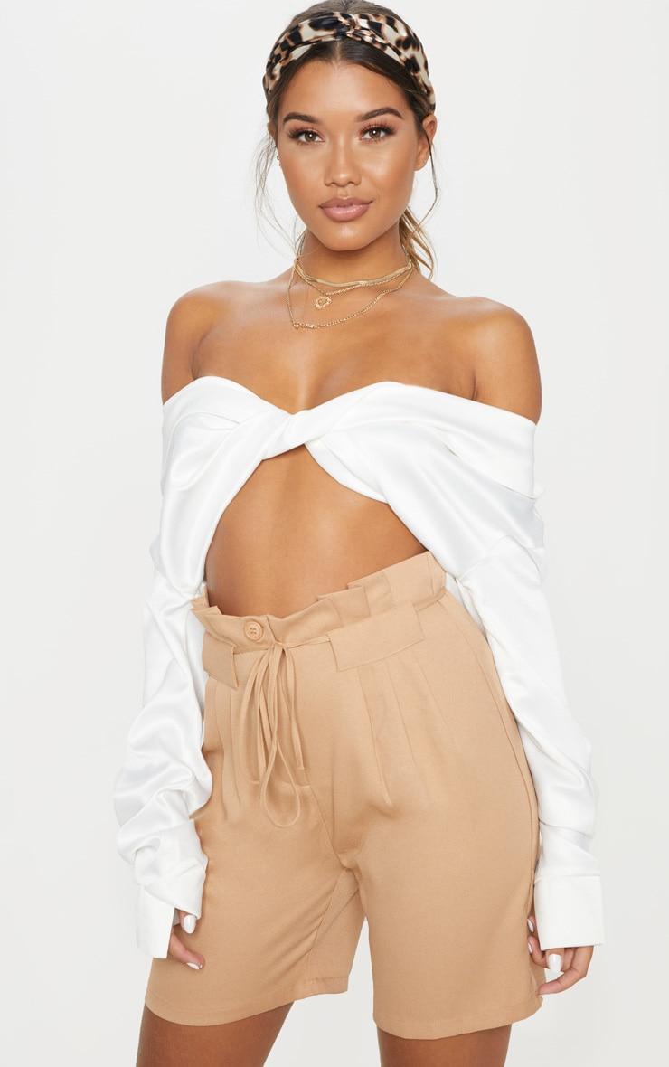Camel Tie Waist Shorts 1