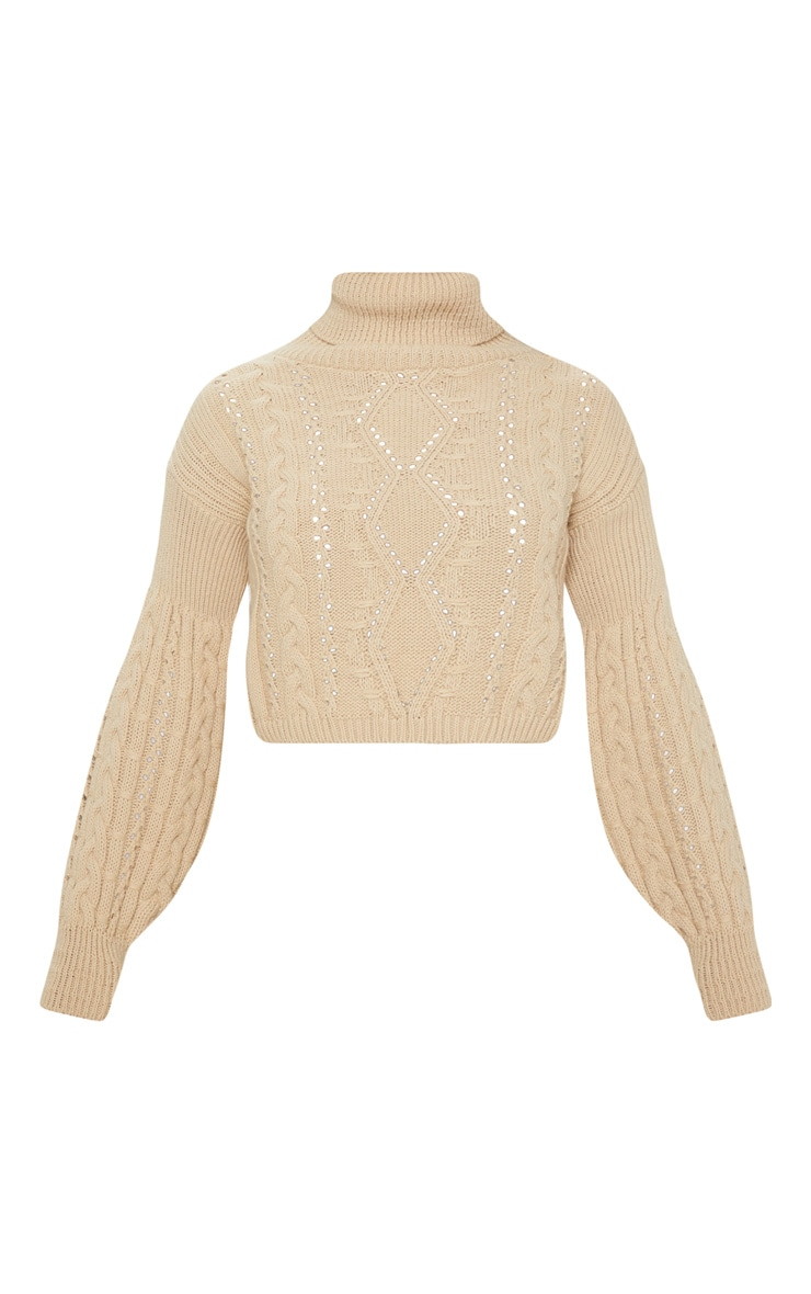 Stone Cropped Cable Knitted Sweater  3