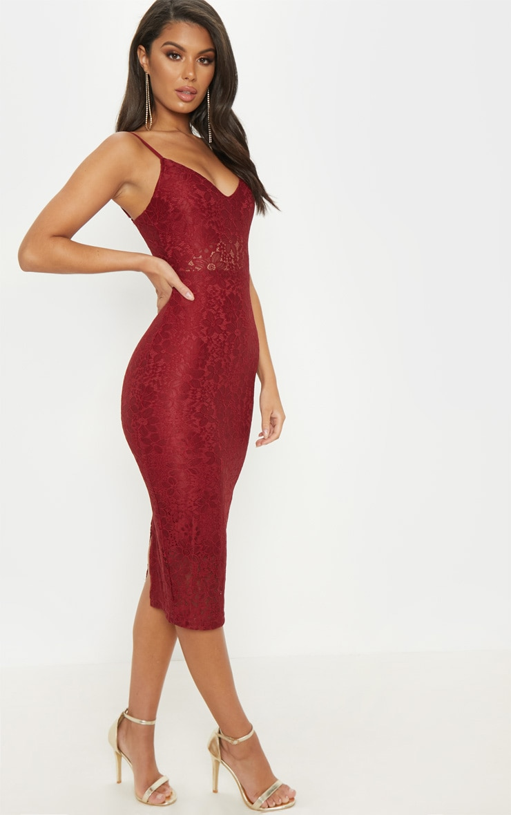 Burgundy Lace Plunge Midi Dress