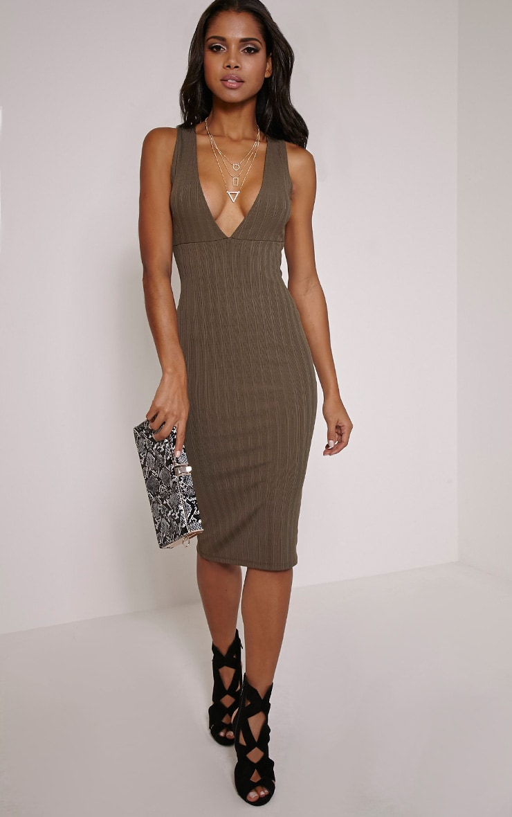 Isidora Khaki Ribbed Deep V Midi Dress 1