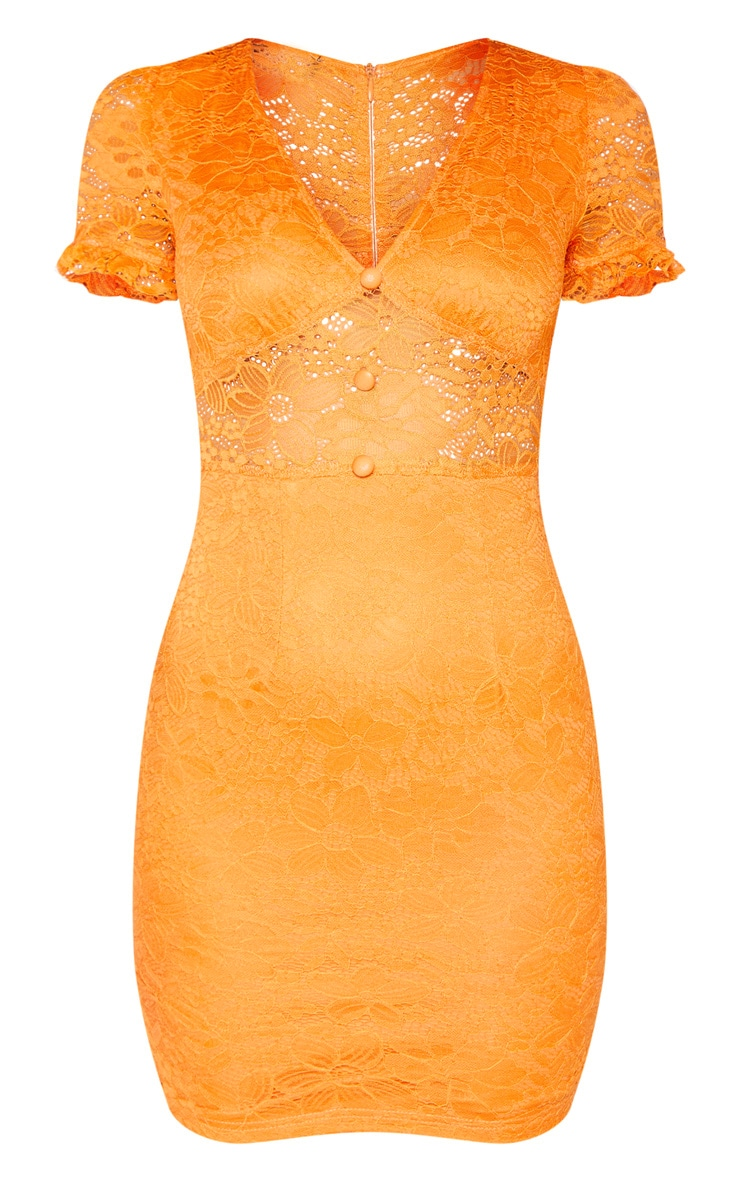 Orange Lace Cap Sleeve Bodycon Dress 3