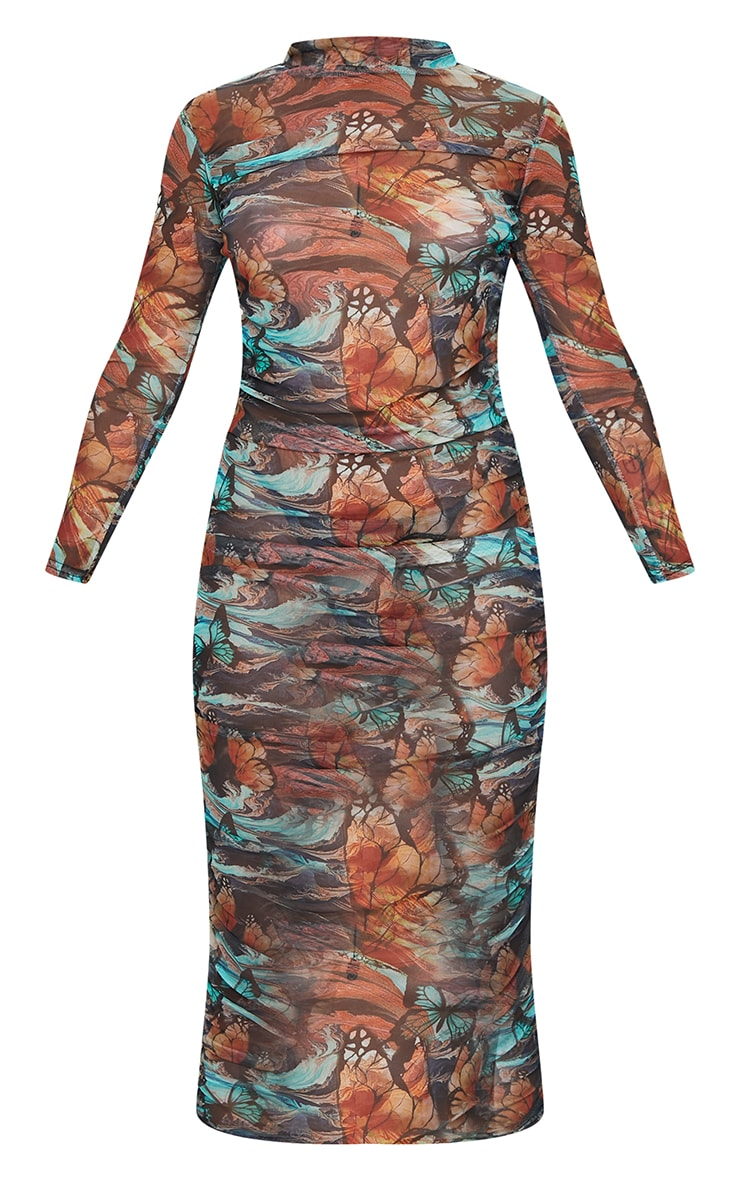 Petite Multi Butterfly Ruched Meshed Midi Dress 5