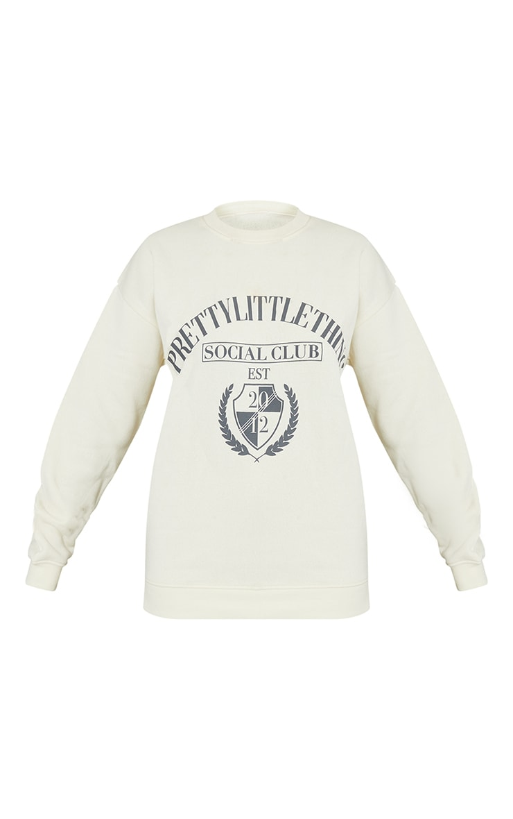 PRETTYLITTLETHING Recycled Cream Social Club Print Sweater 5