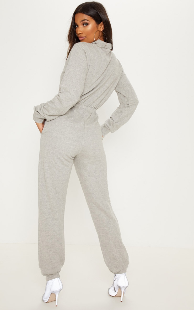 Grey Funnel Neck Zip Up Loop Back Jumpsuit 2