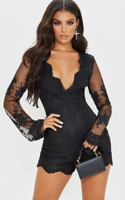 Black Lace Bell Sleeve Playsuit