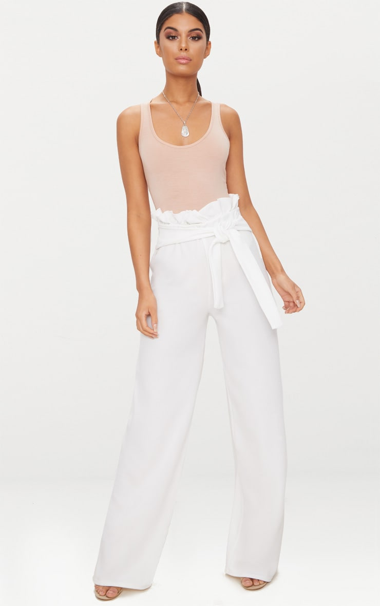 Cream Crepe Wide Leg Paperbag Trousers 1