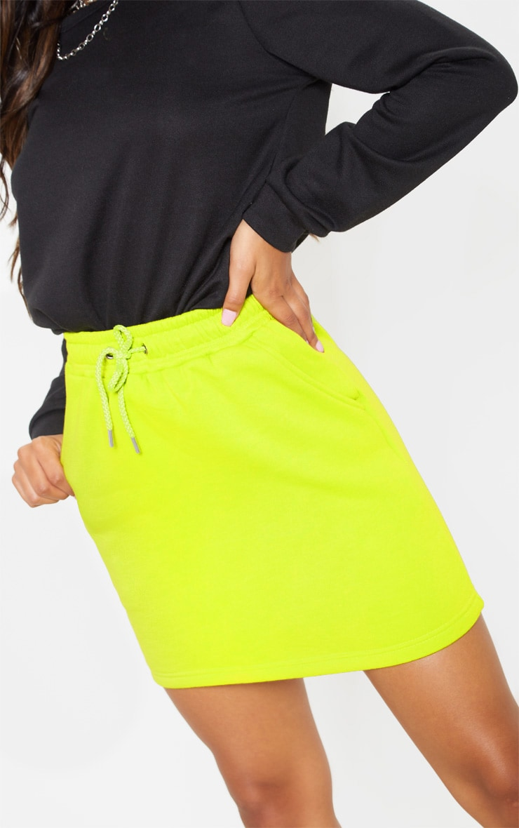 Neon Lime Sweat Drawstring Waist Mini Skirt 6
