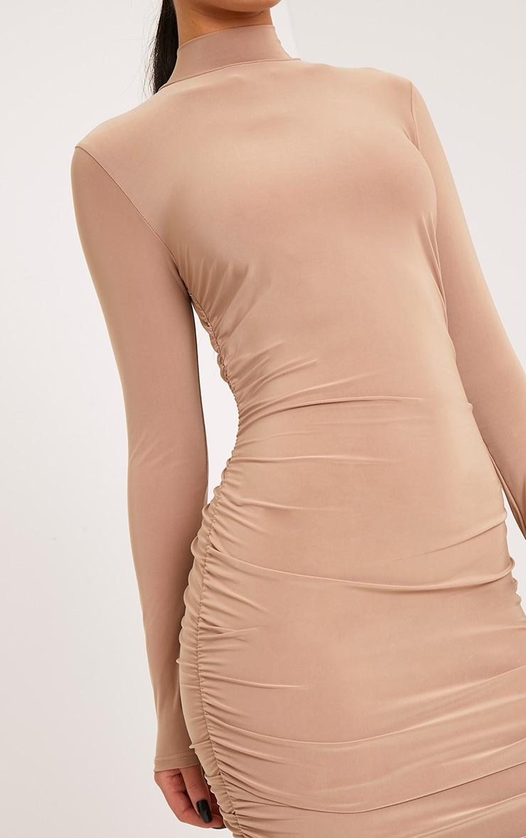 Niyah Camel Slinky Ruched Midi Dress 4
