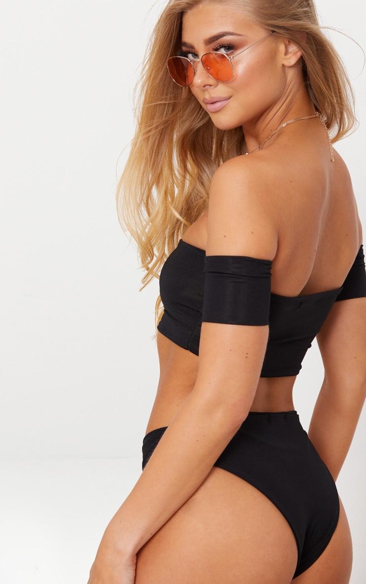 Black Bardot Sleeve Bikini Top 2
