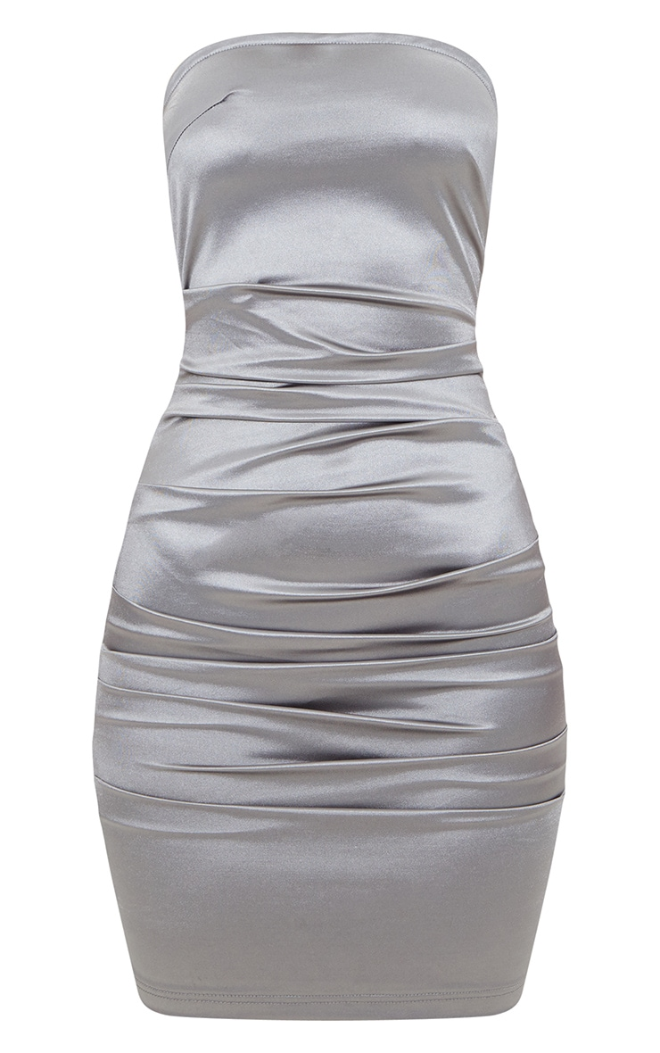 Silver Bandeau Ruched Satin Bodycon Dress 3