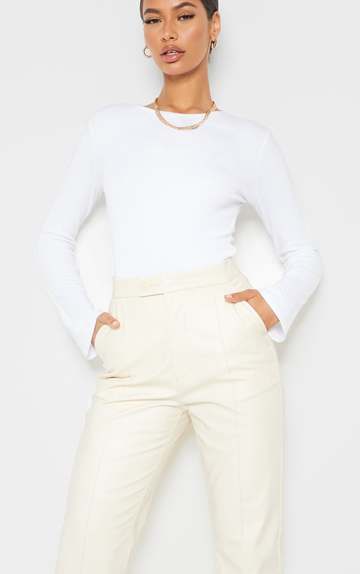 Cream Faux Leather Pintuck Detail Straight Leg Trousers 4