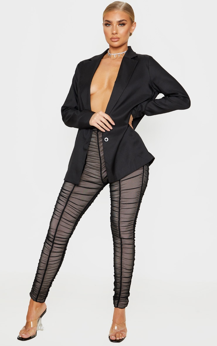Black Ruched Mesh Layered Trouser 1