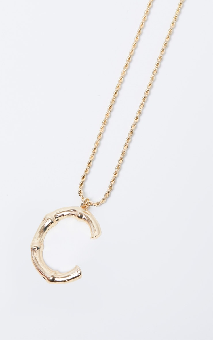 Gold C Bamboo Letter Necklace 2