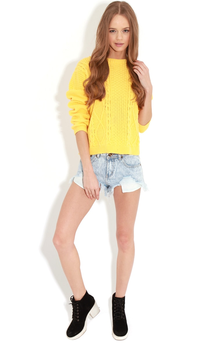 Alina Yellow Cable Knit Sweater  3