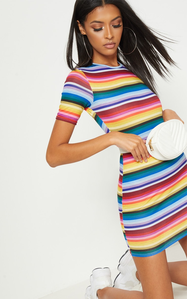 Multi Rainbow Stripe Short Sleeve Bodycon Dress 5