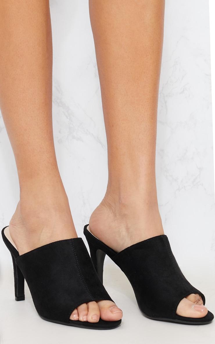 Black Faux Suede Heeled Mule Sandal 4