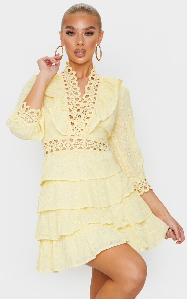 Lemon Lace Trim Broderie Anglaise Tiered Skater Dress 1