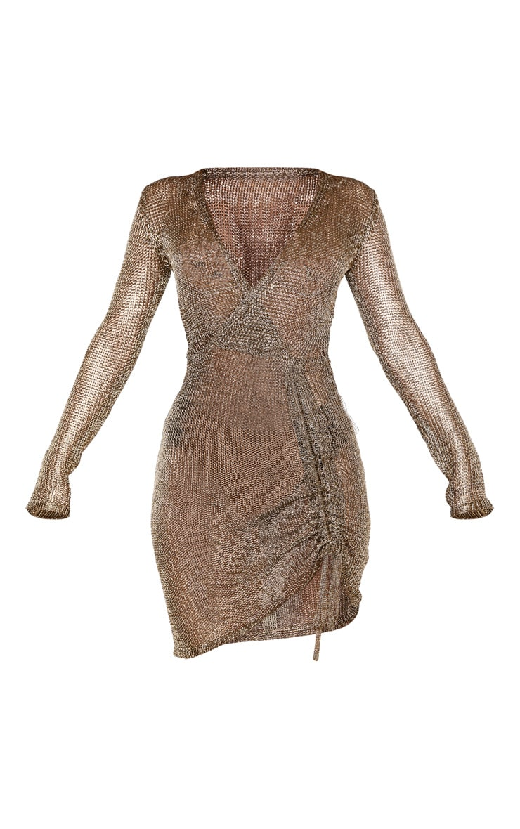 Bronze Metallic Knitted Wrap Front Dress 3
