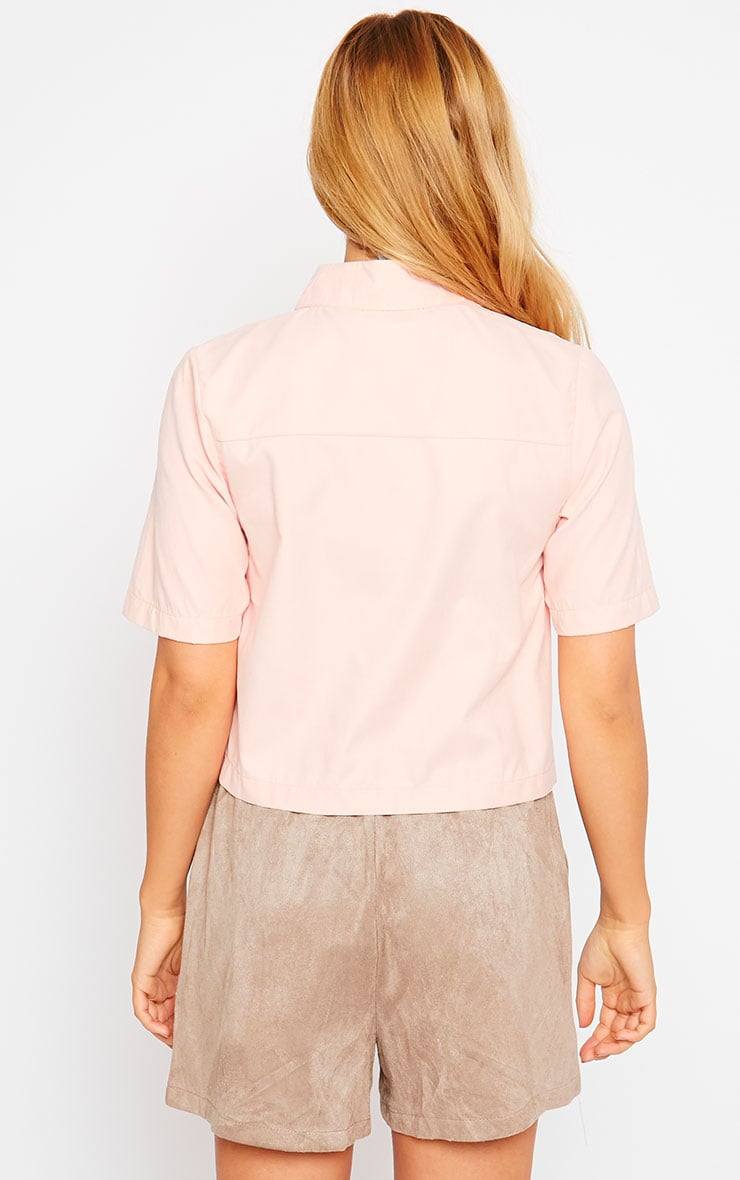 Brona Pink Crop Utility Shirt 2