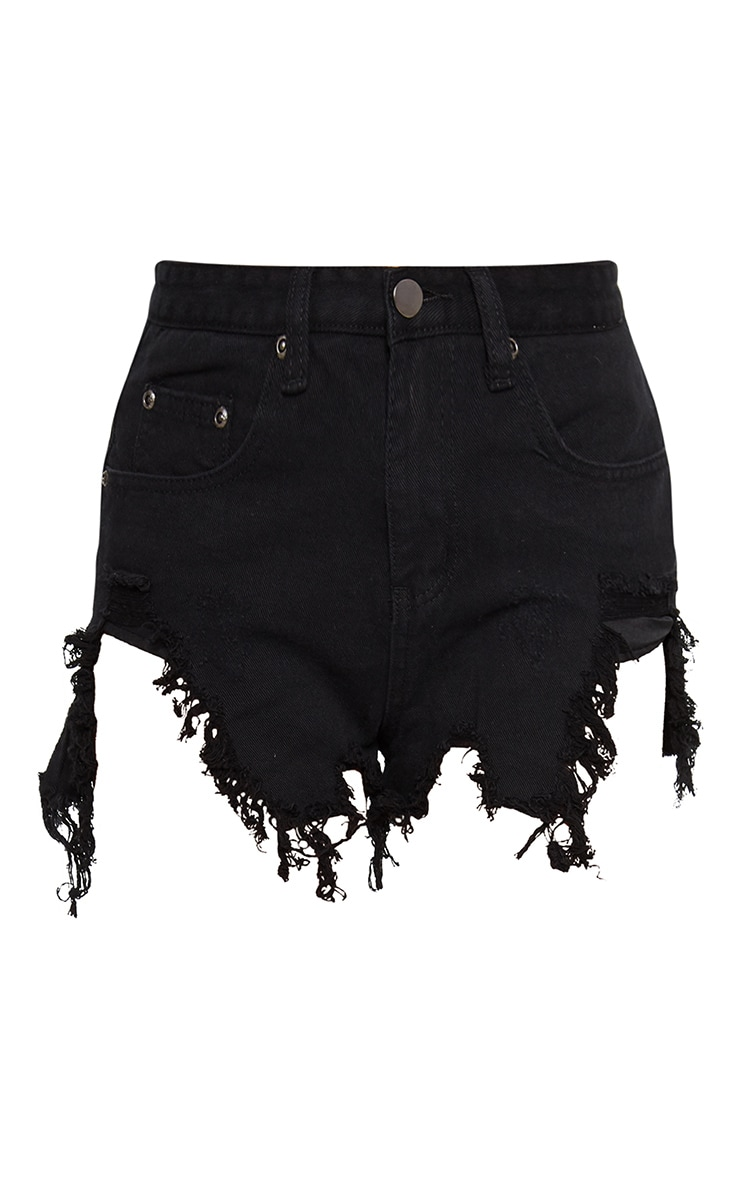 Black Extreme Thigh Rip Denim Short 3