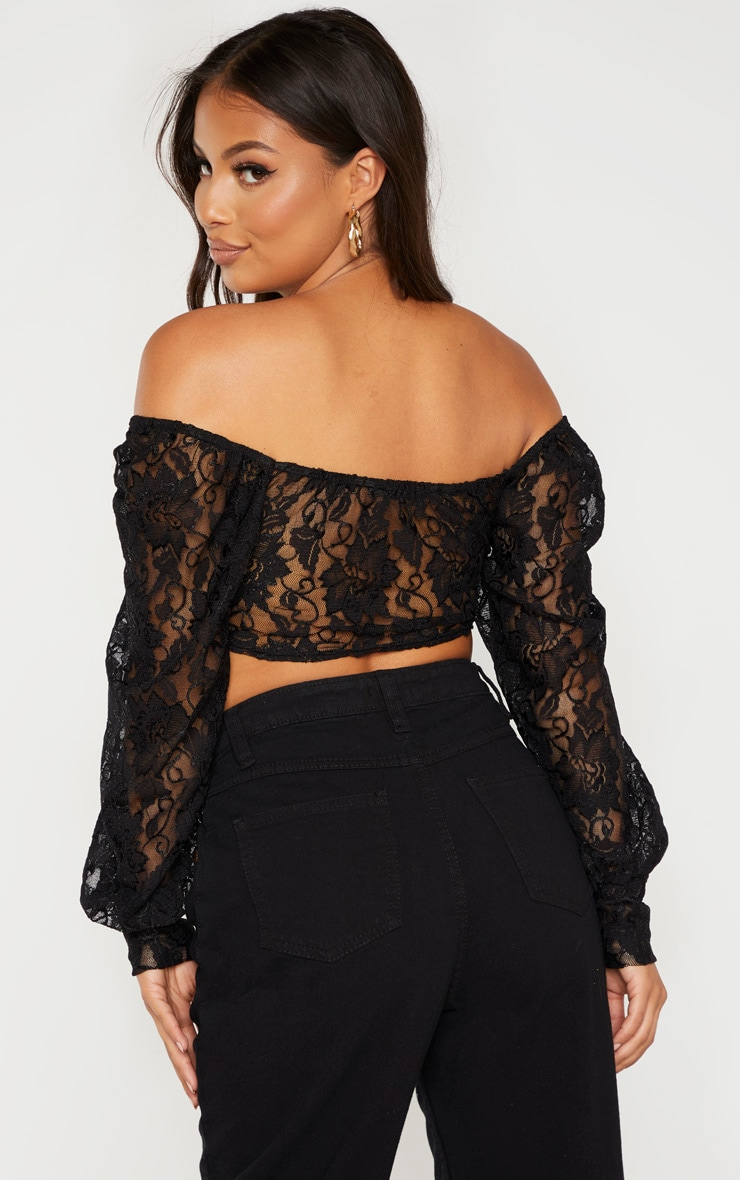 Petite Black Lace Bardot Crop Top  2