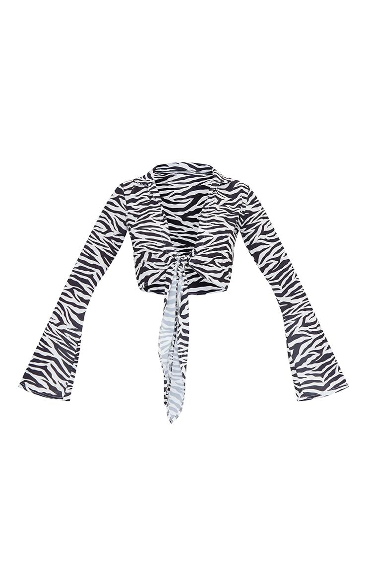Black Zebra Print Woven Crepe Tie Front Crop Shirt 5