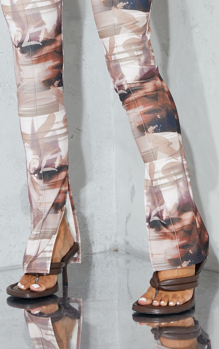 Brown Print Split Hem Detail Skinny Trousers 4