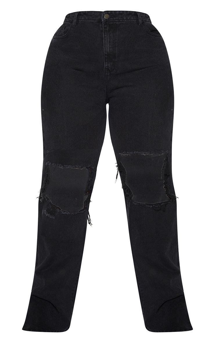 Plus Black Distressed Knee Split Hem Jeans 5