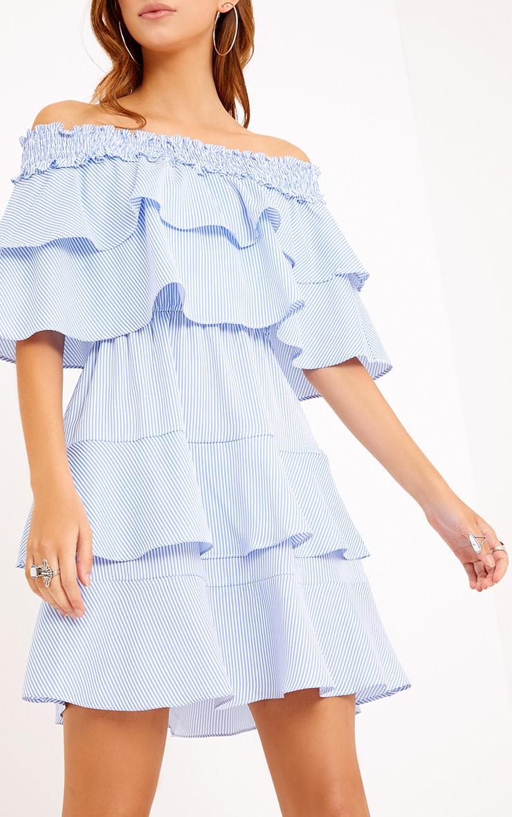 Honourr Striped Bardot Frill Detail Shift Dress Blue 5