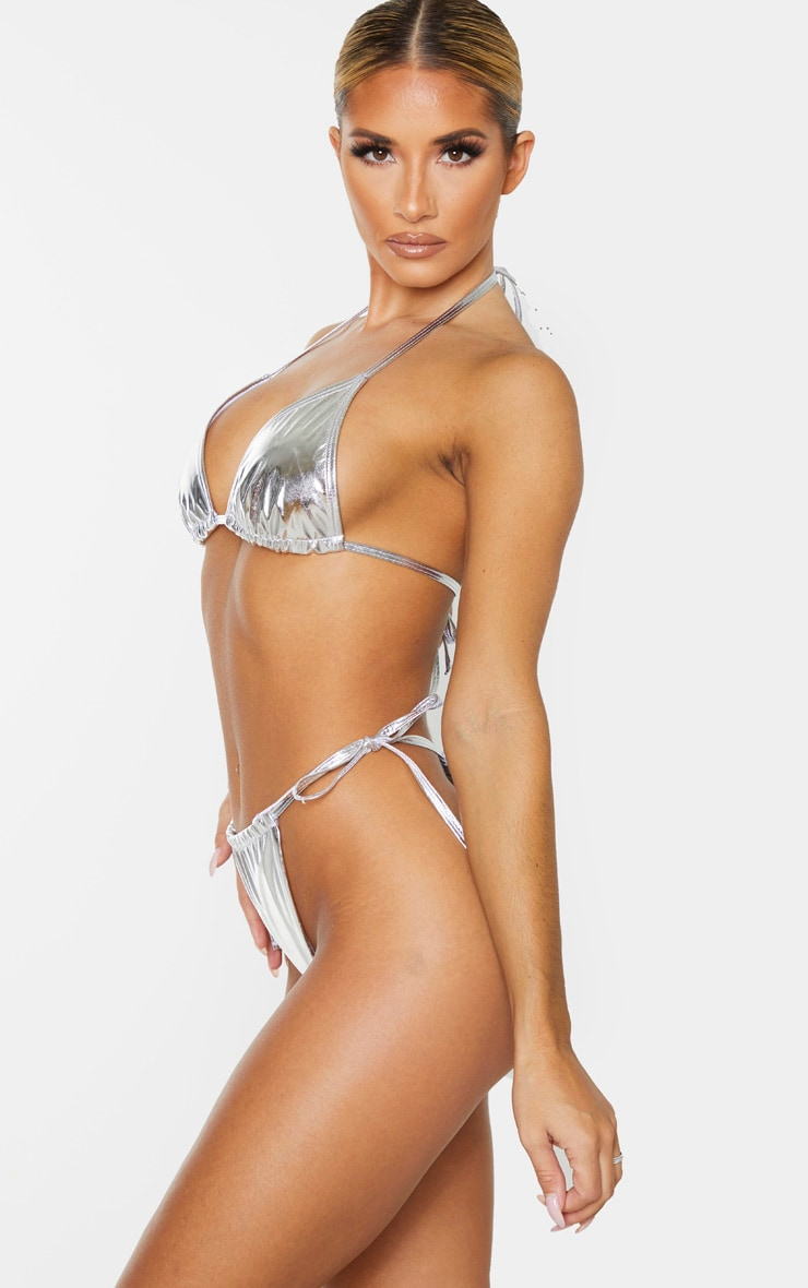 Silver Vinyl Adjustable Tie Side Bikini Bottom 2