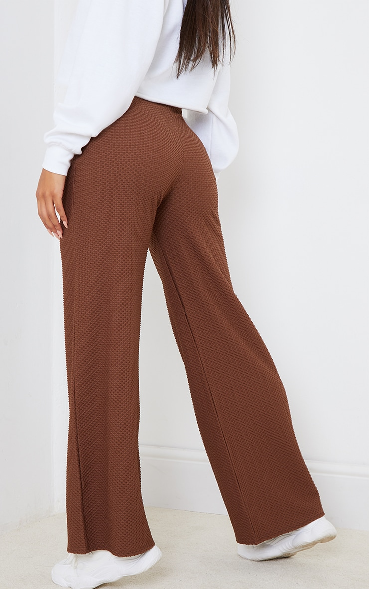Brown Lounge Textured Straight Leg Pants 3