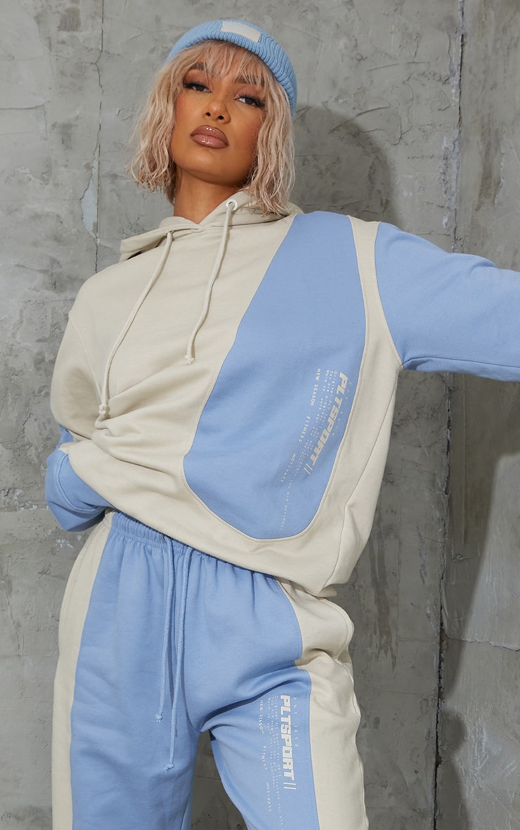 Oatmeal Colour Block Oversized Sports Hoodie 1
