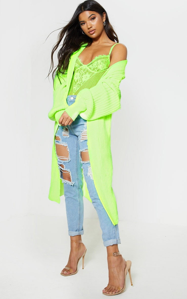 Lime Ribbed Knitted Midi Cardigan 4