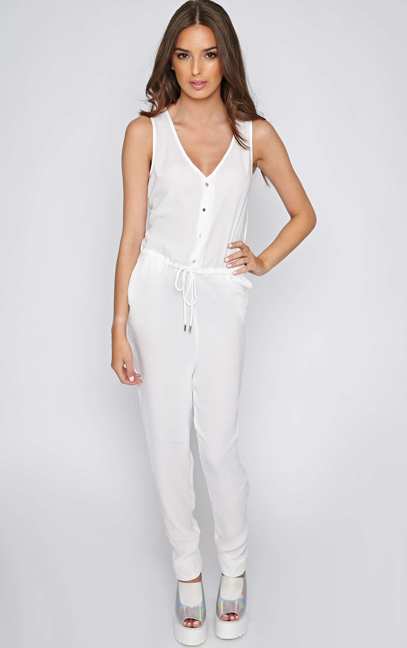 Suki White Off-Duty Jumpsuit 3