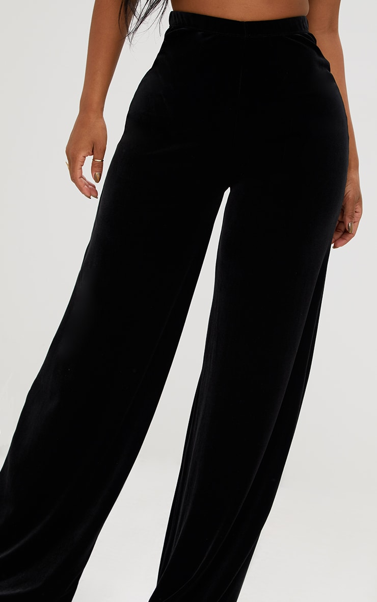 Shape Black Velvet Wide Leg Pants 5