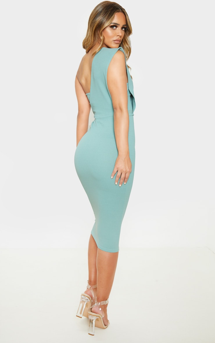 Petite Mint One Shoulder Draped Midi Dress 2