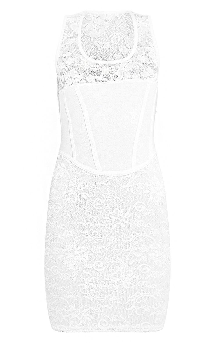 Cleoe White Lace Corset Detail Bodycon Dress 3